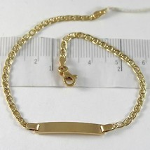 Bracelet Yellow Gold 750 18K, Jersey Navy and Plate for Incision, 19 CM - $306.13