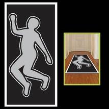 Crime Scene Gag DEAD BODY SILHOUETTE Floor Wall Door Cover Halloween Dec... - $7.89