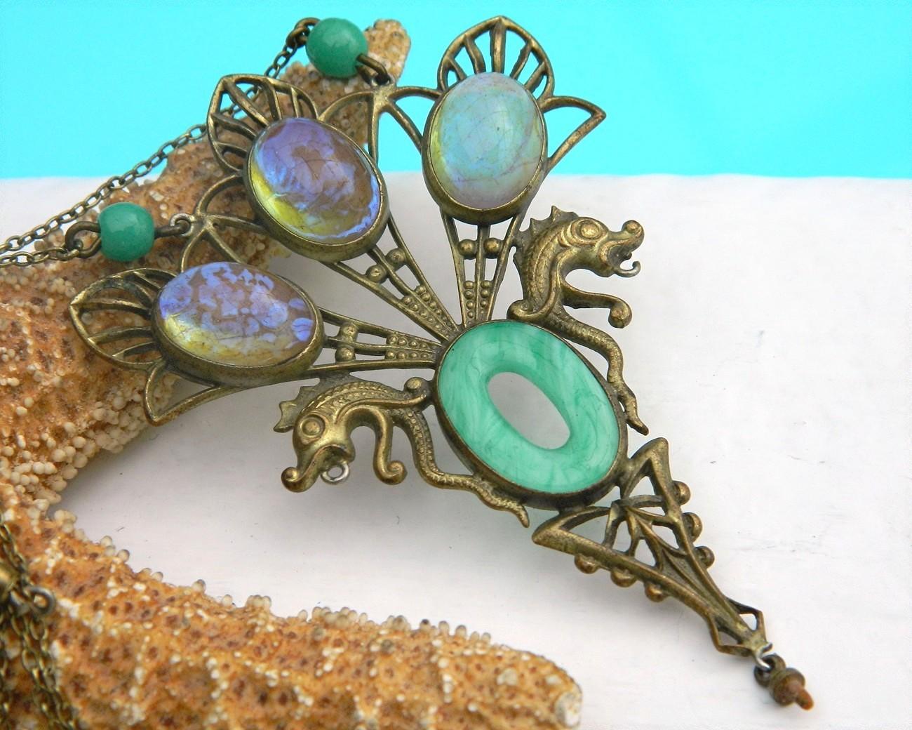 Vintage Fishel Nessler Art Deco Fish Pendant Necklace Brass