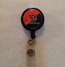 Nfl Cincinnati Bengals Badge Reel Id Holder orange black alligator clip handmade - $6.95