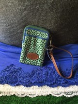 Handbag Fossil Keyper Green & Blue Multi Credit Card Phone Case Zip Wris... - $72.44