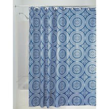 NEW! InterDesign Medallion Fabric Shower Curtain, 72 x 72, White Ink Blue - $12.86