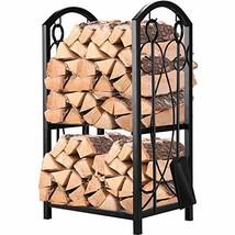 Pinty Firewood Log Rack with 4 Tools Firewood Storage Fireplace Tool Set... - $74.27