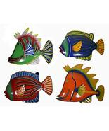 WorldBazzar Set 4 Large Beautiful Unique Fish Metal Hanging Wall Art Scr... - $75.18