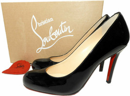 Christian Louboutin SIMPLE Pumps Shoes Black Patent Leather 37.5 - $369.99
