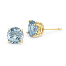 0.50 CT 5mm 14K YELLOW GOLD BLUE AQUAMARINE ROUND SHAPE STUD PUSH BACK E... - $42.88