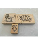 3 GREAT WOOD MOUNTED CRAFT ANIMAL STAMPS - $15.83