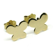 SOLID 18K YELLOW GOLD EARRINGS FLAT BUTTERFLY, SHINY, SMOOTH, 8x10 MM image 2