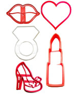 Kissing The Single Life Goodbye Bachelorette Set Of 5 Cookie Cutters USA PR1167 - $11.99