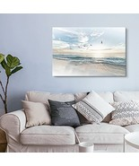 wall26 Canvas Wall Art - Watercolor Style Waves on The Beach with Sea Bi... - $30.18