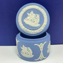 Wedgwood jewelry trinket box blue England vtg circular wedge wood pottery mcm UK - $28.89