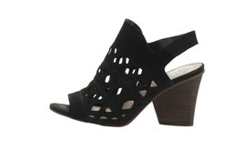 Vince Camuto Cutout Nubuck Heeled Sandals- Deverly Black 8W NEW A351686 - $91.06