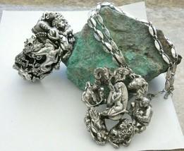 Tortolani Sterling Plated Zodiac Massive Bracelet Pendant Necklace BOOK ... - $296.95