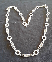Vintage Signed Crown Trifari Modernist Geometric Long Silver Ton Runway Necklace - $50.00