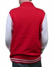 WeSC Mens Massimo Knitted True Red Cardigan Cotton Sweater NWT image 3
