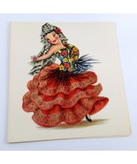 Dolls of Many Lands Card Spain Vintage Blank Note Card for Collage, Ephe... - $2.50