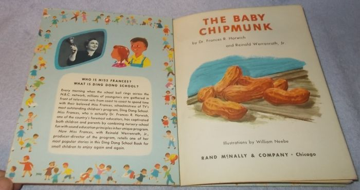 Children's Ding Dong School Book The Baby Chipmunk Dr. Frances R. Horwich