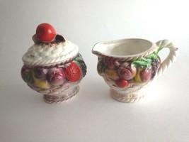 Vintage CREAMER And SUGAR BOWL Basketweave Fruit Pattern Japan Country D... - $13.61