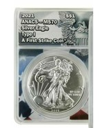 2021 ANACS MS70 Silver Eagle TypeI A First Strike Coin USA Flag Og Design Label  - $123.75