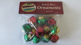 Set of 12 Jingle Bell Red & Green Metal Ornaments NEW - $6.79