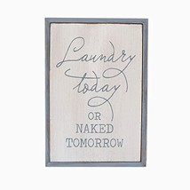 Paris Loft White Laundry Room Decor Wood Sign Plaque Laundry Today or Na... - $23.52