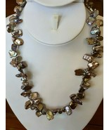 """Keshi Pearl & Faceted Smoky Quartz Necklace 20"""" Freshwater Chocolate sil... - $39.55"""