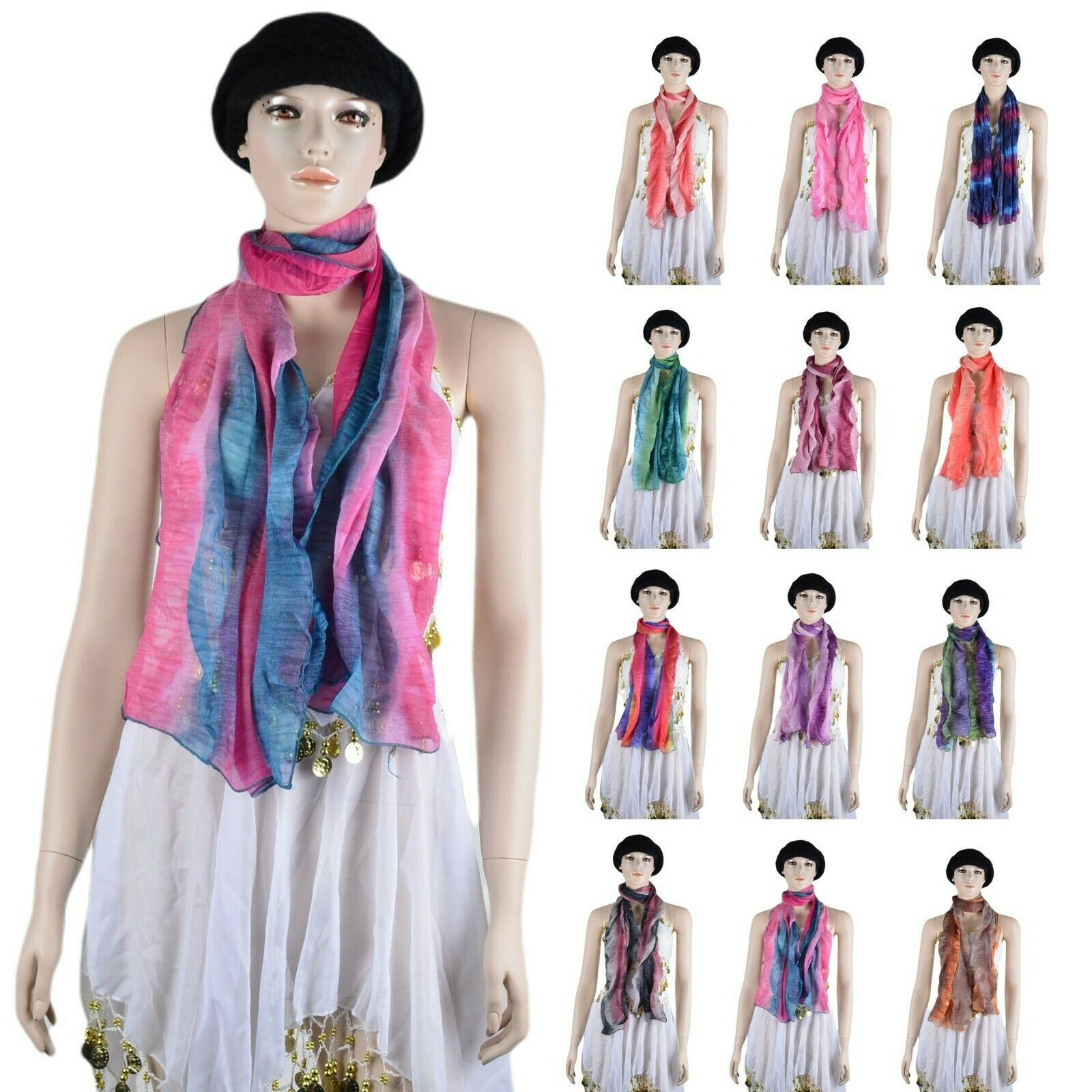 Primary image for Women Ombre Gradual Multicolor rainbow manmade silk fashion Scarf luxurious ink