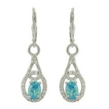 925 Sterling Silver 7x5 MM Oval Blue Topaz Tear Drop Dangle Earring - $25.18