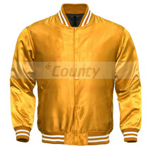 Letterman Baseball College Varsity Bomber Quality Jacket SportsWear Golden Satin - $49.98+