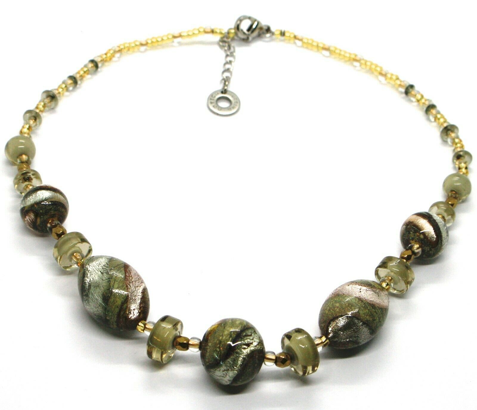 NECKLACE ANTIQUE MURRINA VENICE CO998A32, BRIGHT, LONG 44 CM, GREEN PINK AMBER