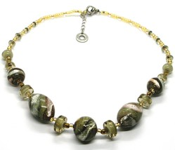 NECKLACE ANTIQUE MURRINA VENICE CO998A32, BRIGHT, LONG 44 CM, GREEN PINK AMBER image 1
