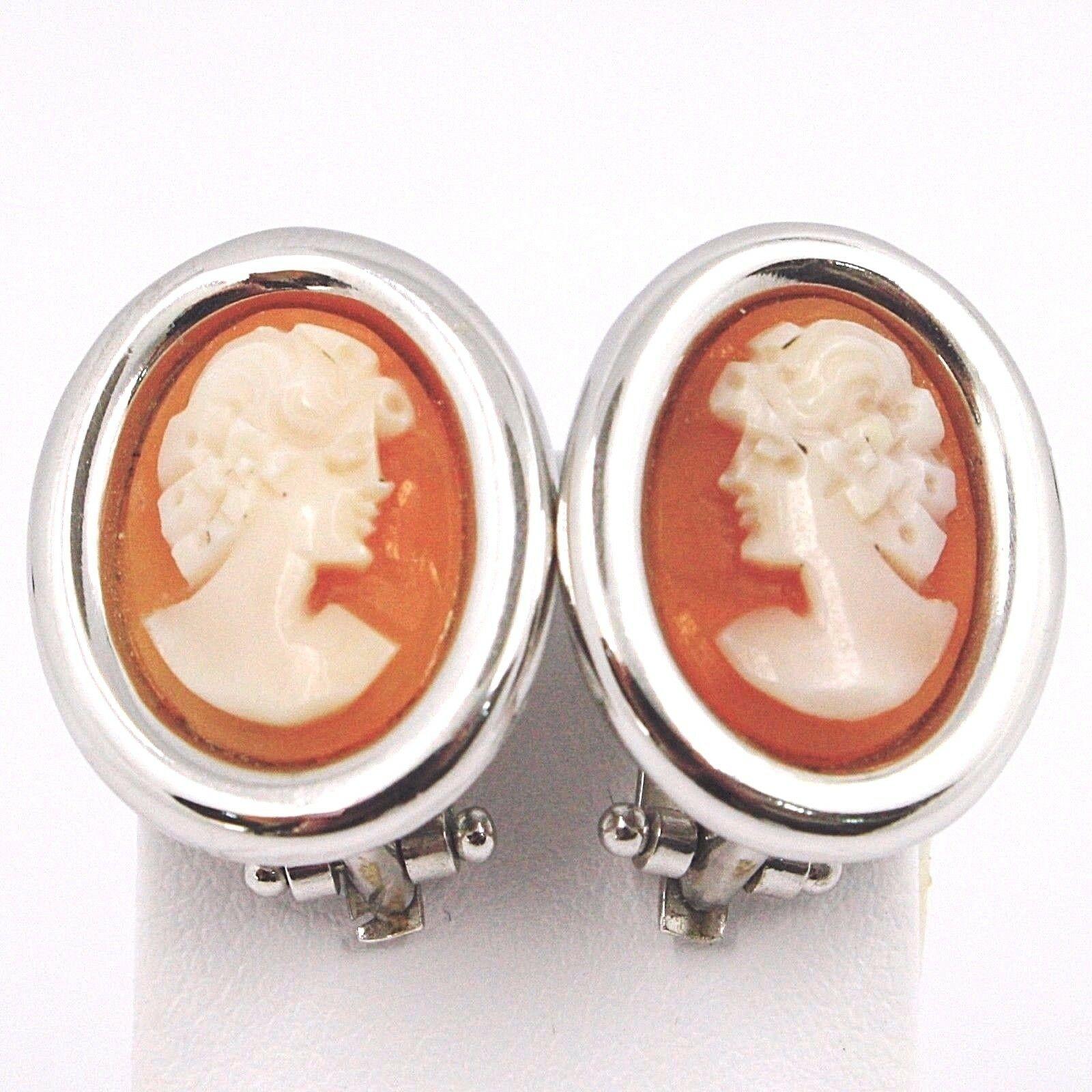 Boucles D'Oreilles or Blanc 750 18K, Camée Sculpté Ovale, Visage Femme, Clips
