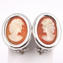 Boucles D'Oreilles or Blanc 750 18K, Camée Sculpté Ovale, Visage Femme, Clips image 1