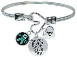 Custom PTSD Awareness Ribbon Never Give Up Bracelet Choose Initial Family - $18.99