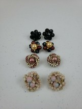 VTG Beaded Clip On Earrings In Different Colors And Styles Lot Of 4 Pink, Black, - $21.00