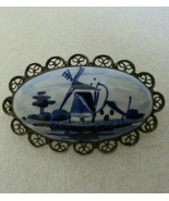 ANTIQUE SILVER 800 835 ? Filigree BROOCH PIN Hand Painted Pottery DELFT ... - $14.80