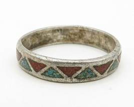 925 Silver - Vintage Antique Crushed Turquoise Band Ring Sz 7 -R4261 - $42.55