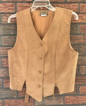 Vintage Roper Vest Small Ladies Brown Suede Like Front Buttons Back Tie VTG - $19.80