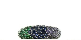 Ladies Size 9 Sterling Silver Multi Color Gemstone Fashion Ring No. 2132