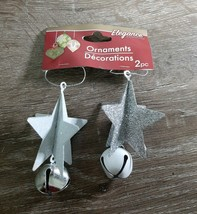 Christmas Ornament Set Of 2 Stars With Bells, Glittery. Silver and White... - $13.67