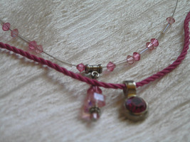 Estate Lot of 2 Pink Cord with Fuschia Rhinestone & Shades of Pink Bead ... - $8.59