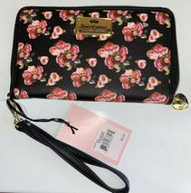JUICY COUTURE Wallet- Wristlet Zip Around Black Rose Print  Single Zip L... - $28.99