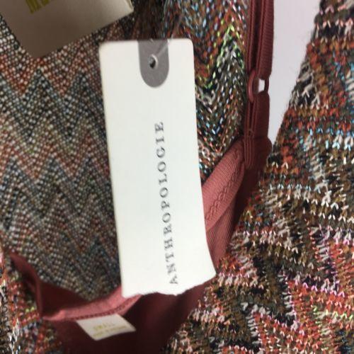 Maeve Anthropologie Small Westwater Knit Dress Peach Pink Drop Waist Chevron