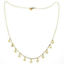 18K YELLOW GOLD NECKLACE WITH PENDANT FLAT STARS STAR, 16.5 INCHES MADE IN ITALY image 1