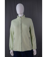 Karen Scott Sport Zip-Up Front Quilted Jacket Size Medium Lime/Light Green - $13.95