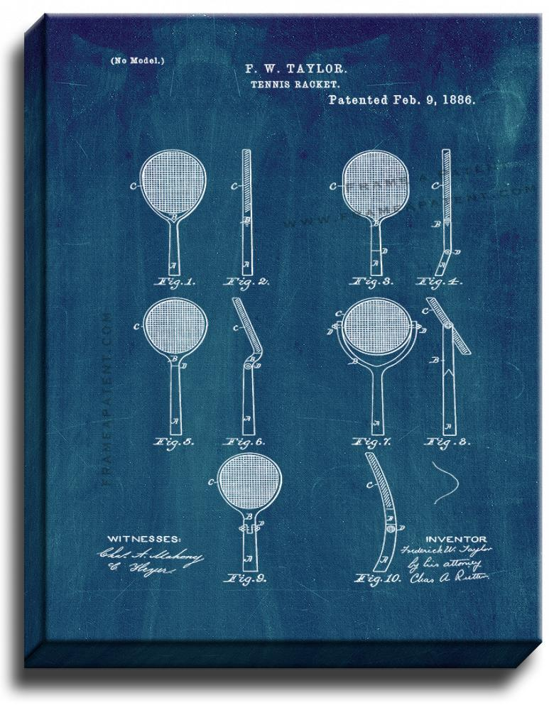 Primary image for Tennis Racket Patent Print Midnight Blue on Canvas