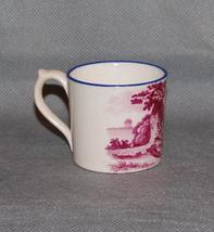 Antique English Puce Pink Transfer Printed Blue Rim Child's Mug Farm Fam... - $275.00