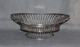 Antique Silver Plate Open Wire Loop Navette Shape Basket on Raised Foot - $175.00