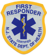 """New Jersey State Certified Ems First Responder Reflective 1 1/2 X 2"""" Decal - $3.95"""