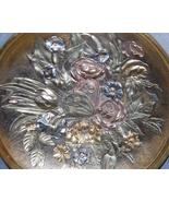 Meriden Quadruple Silverplate Gilt Medallion Flowers and Butterfly Victo... - $475.00